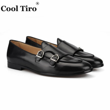 COOL TIRO New Arrivals Calfskin 3 colors Men Navy blue Double buckle Loafers Wedding And Party Smoking Slippers shoes