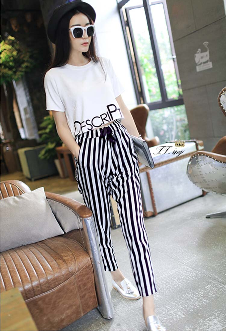 HTB1XAmjxf9TBuNjy0Fcq6zeiFXaz - 2pieces summer set women tracksuit outfit casual lovely printing cotton letter short t-shirt tops+striped harem pants sweatshirt