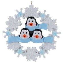 Penguin Family with Snowflake of 3 Polyresin Christmas Personalized  Ornaments