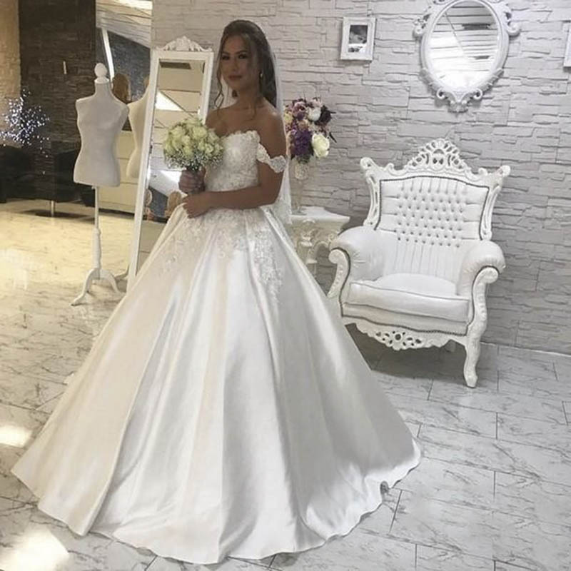 Vestido De Noiva Sweetheart Satin Wedding Dresses Corset Back Floor Length Lace Appliques Bridal Gowns robe