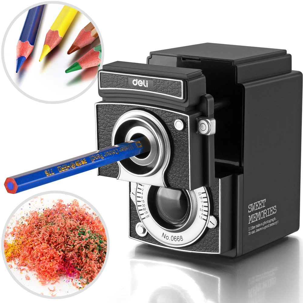 Deli Retro Camera Manual Pencil Sharpener Hand-Cranking for Students Classroom Office Home Use 40D0668 dumpling maker manual hand oeprate home use