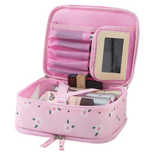 High Quality Women Storage Bag With Mirror Beautician Lady Waterproof Travel Toiletry Bags Organizer For Makeup Brush