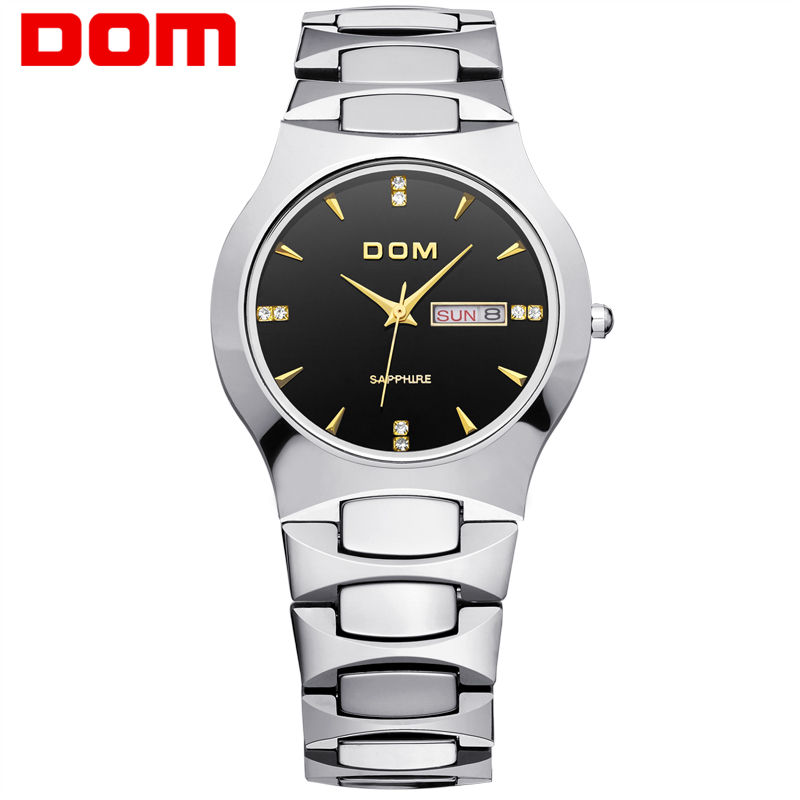ФОТО DOM 2016 Men's business Watches Top Brand Luxury Quartz Watch Fashion Tungsten Steel  Waterproof Watch Wristwatch gift W-624