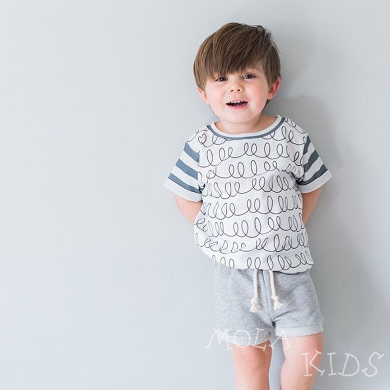 Boys Clothing T-Shirt Kids Tops Clearance Toddler Causal-Style Striped Baby Children