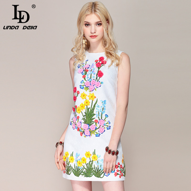 LD LINDA DELLA Fashioni Designer Casual Summer Dress Women s Sleeveless Elegant Flower Appliques Beading Mini