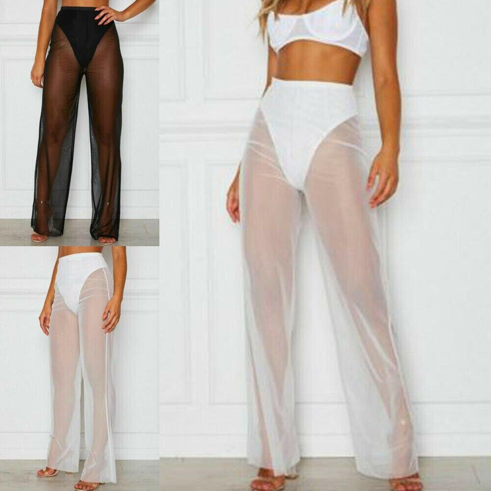Hirigin Women Summer Sexy Beach Mesh Sheer High Waist Pants See Through Bikini Cover Up Flared Trousers