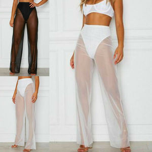 Hirigin Women Summer Sexy Beach Mesh Sheer High Waist Pants See Through Bikini Cover Up Flared Trousers