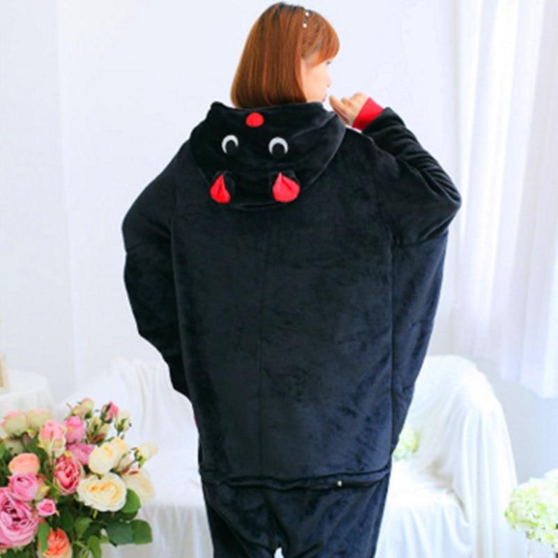 Mink flannel black bat animal conjoined pajamas cartoon autumn winter long sleeve home furnishing womens clothing