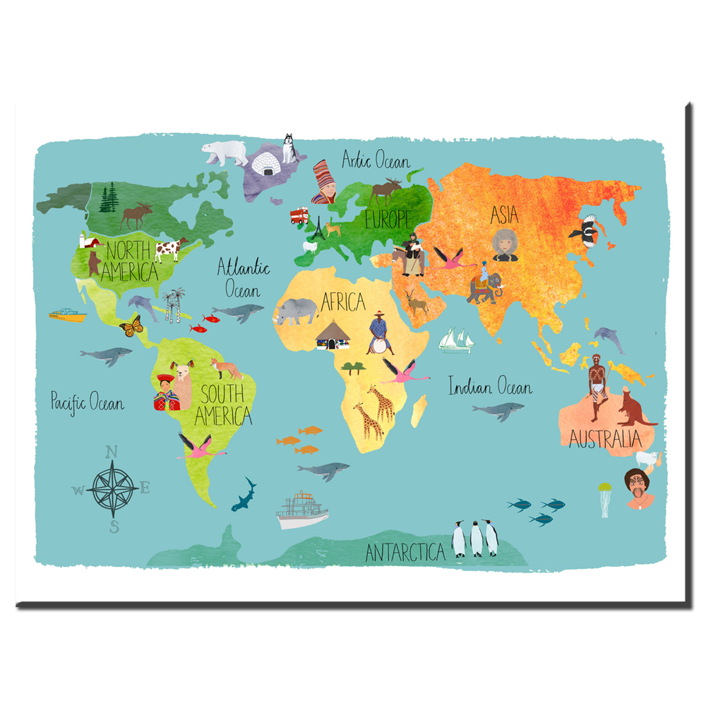 Xdr664 nordic children kawaii cartoon animals world map canvas xdr664 nordic children kawaii cartoon animals world map canvas print painting poster wall pictures for kids room home decor in painting calligraphy from gumiabroncs Images