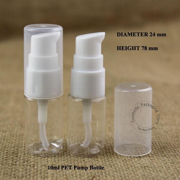 Wholesale 100pcs lot 10ml Plastic PET Facial Cream Lotion Pump Spray Bottle 1 3OZ Emulsion Container