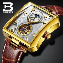 誇張変形スクエア腕時計ヴィンテージ男性ローマ機械式腕時計自動巻トゥールビヨン腕時計防水 24 宝石|機械式時計|   -