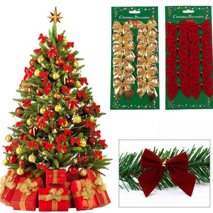 LONGWIN Wholesale 36PCS Ribbon Bowknots Cristmas Tree decoration Xmas Party Decor