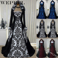 WEPBEL Vintage Style Gothic Dress Floor Length Women Gothic Maxi Dress Halloween Cosplay Dresses Retro Long Medieval Dress