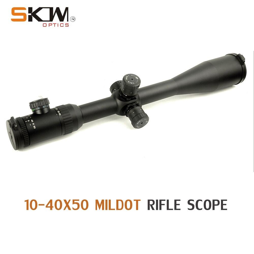 SKWoptics 10-40x50 Side Focus 30 tube rifle scope daleki zasięg. 308 .338 Cal podświetlany cel myśliwski wysokiej jakości siatka