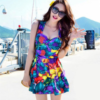 2016 Plus Size One Piece Suit Boxers Floral Dress Push Up Monokini Beachwear Swimsuit Bathing Suit