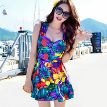 2017 Plus Size One Piece Suit Boxers Floral Dress Push Up Monokini Beachwear Swimsuit Bathing Suit For Women Girl Swimwear