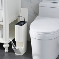 Narrow Bathroom Trash Can Waste Bins Toilet Trash Bin with Lid Toilet Brush Garbage bag storage container Plastic Dustbin 2 in 1