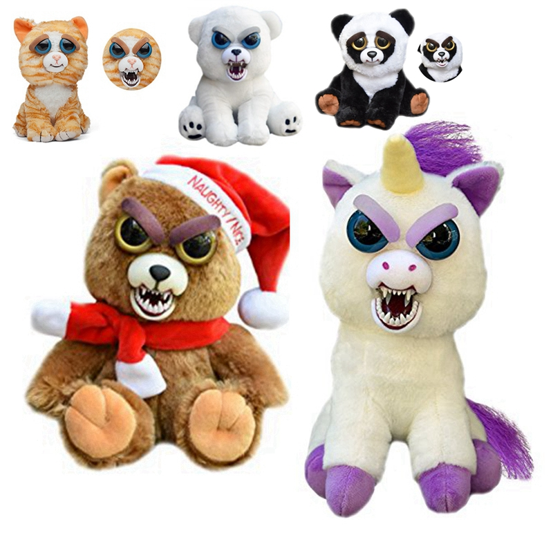 Feisty Pets Change Face Plush Cat Bear Stuffed&Animals Dog Bunny Rabbit Unicornio Toys Doll For Baby Kids Christmas Gifts 35 8cm cute bunny baby soft plush toys stuffed animals kids baby toys smooth obedient sleeping rabbit doll infant appease doll