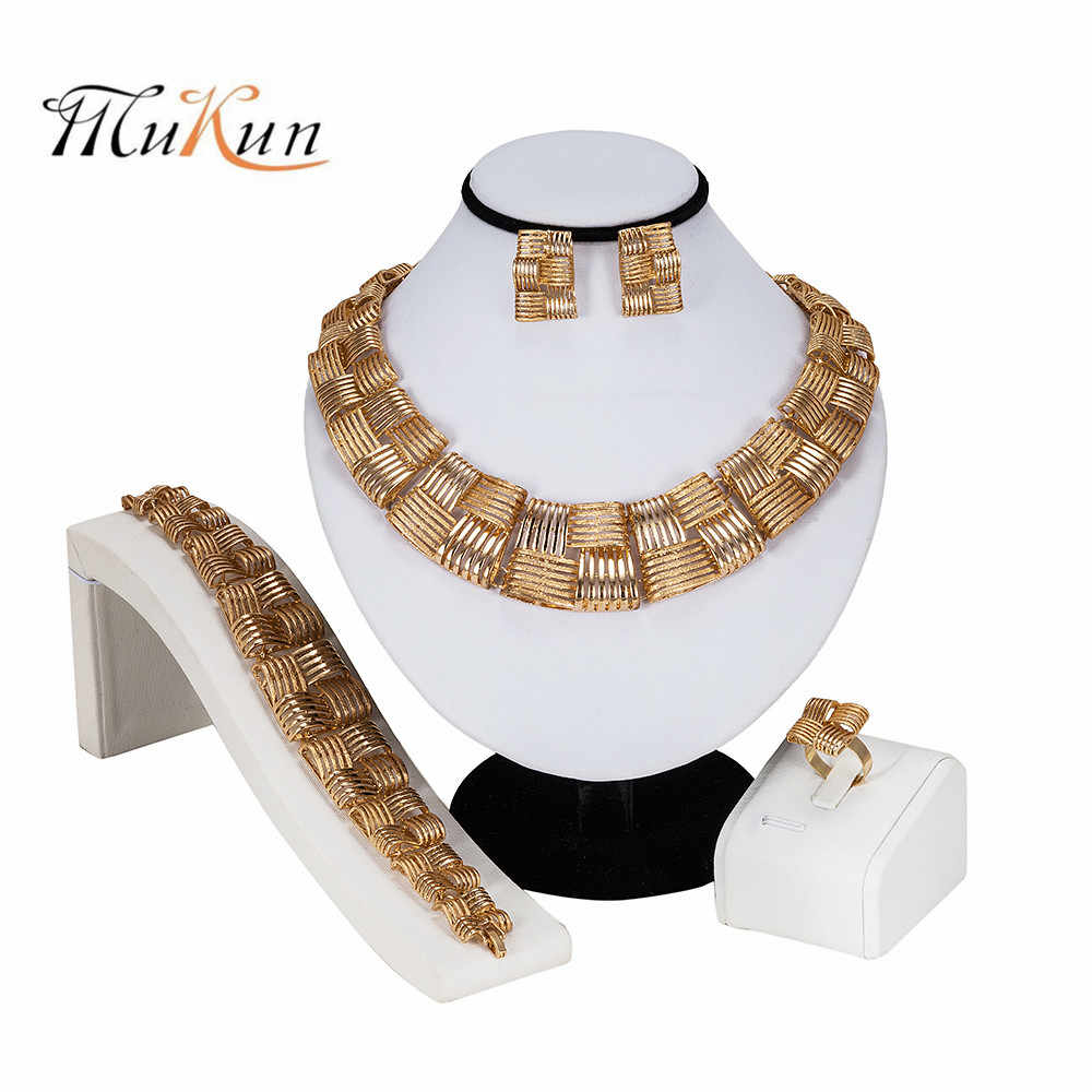 MUKUN 2019 New High Fashion Dubai Jewelry Set Gold Color Nigerian Wedding African Beads Jewelry Sets Parure Bijoux Femme gifts
