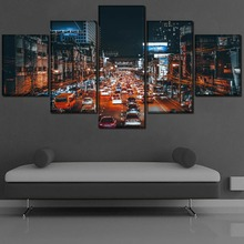 Modern Home Decorative Modular Framework Wall Art Canvas Painting 5 Pieces In the Evening Cars Street Avenue Landscape Picture