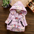 2016 new winter autumn baby girls clothing cotton coat for children thickening warm newborn jacket flower girls hooded coat baby