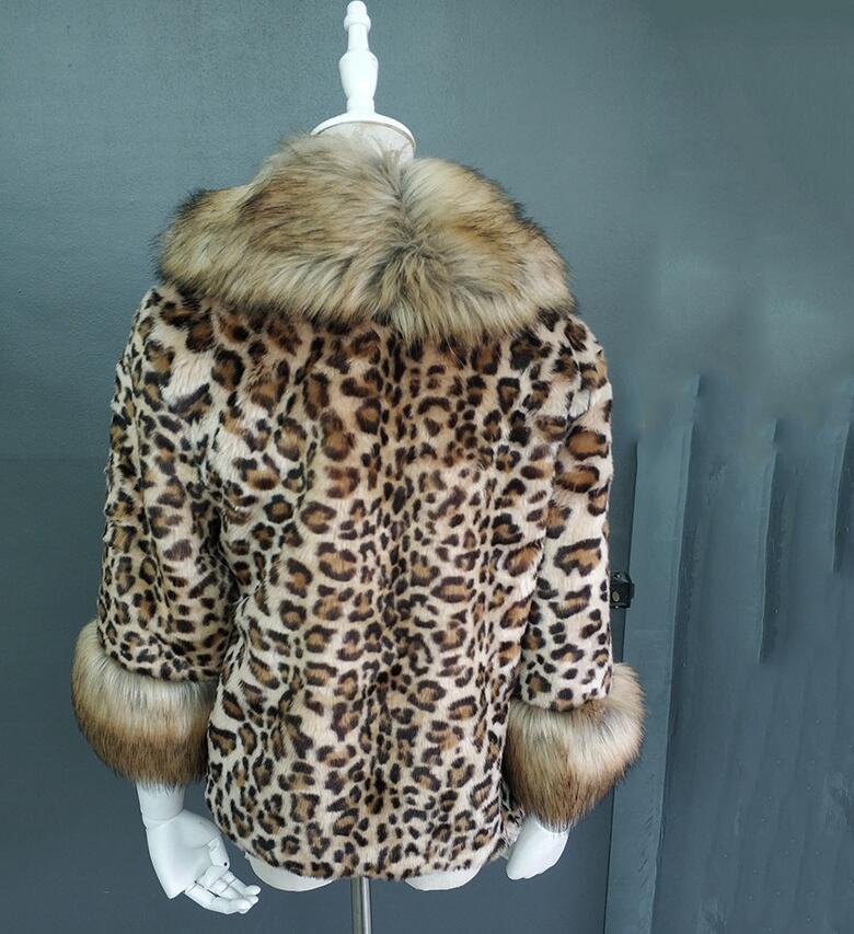 Avec Veste Est Aux Leopard Renard 2019 Fourrure Élégant Qui Femmes D'hiver Un Offre Manteau Print Chaud De Faux ztwdd0nqa