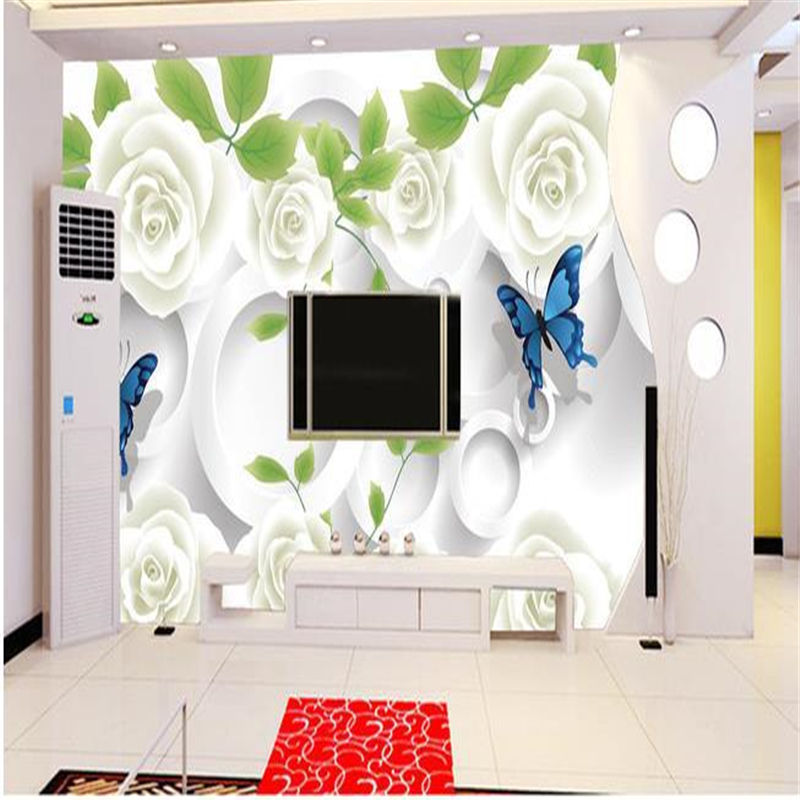 Beibehang Tv Backpack Wall Paper Silk Cloth Butterfly White Rose Murals 3d Eco-friendly Wallpaper For Wallpaper Photo Wallpaper Beneficial To The Sperm