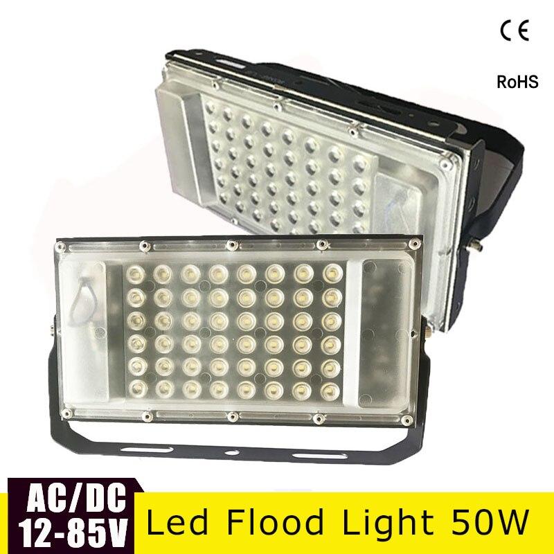 Luz de inundação conduzida ultra fina 12 volts impermeável ip65 50w ac/DC12-85v holofote exterior do projecteur do diodo emissor de luz