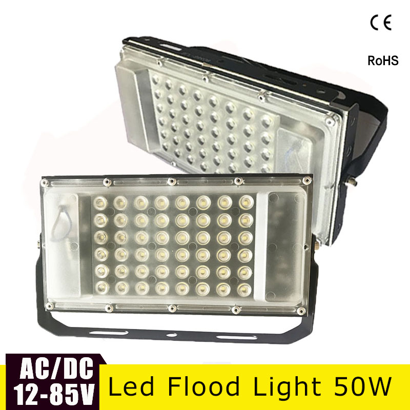 Ultra Thin LED Flood Light 12 Volt Waterproof IP65 50w AC/DC12-85v Searchlight Led Exterior Projecteur Outdoor Floodlight