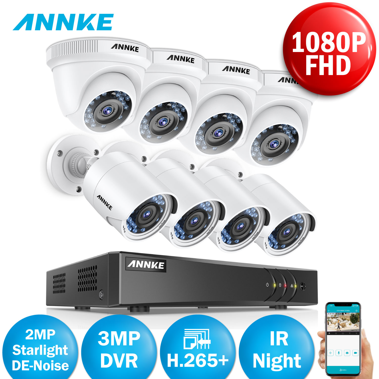 ANNKE 8CH 1080P 5IN1 Smart Home Security System 3mp HDMI DVR With 8pcs HD 2MP HD