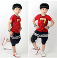Free shipping 2016 new arrive Lucky Seven fashion children boy clothing set suit kids boy summer casual clothes set
