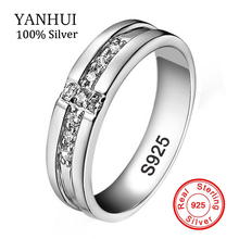 100% Real 925 Silver Cross Rings Set CZ Diamant Engagement Rings for Lovers Couple Silver Wedding Rings for Men and Women YHRD11