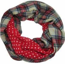 Free Shipping 2017 New Fashion Navy Beige Tartan Dotted and Plaid Check Infinity Scarf Snood Scarves