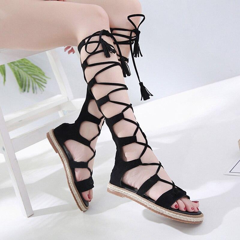 Gladiateur romain Bandage sandales femmes genou haut plat sandalias botas femmes chaussures d'été en cuir véritable creux bottine
