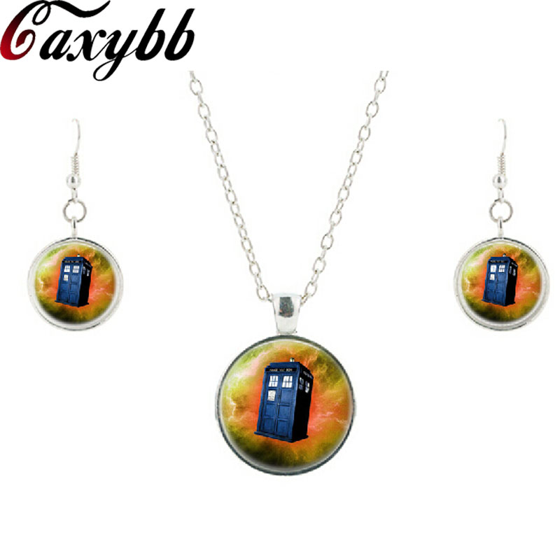 Doctor Who Tardis glass necklace earring movie jewelry sets charms round dome picture silver necklaces