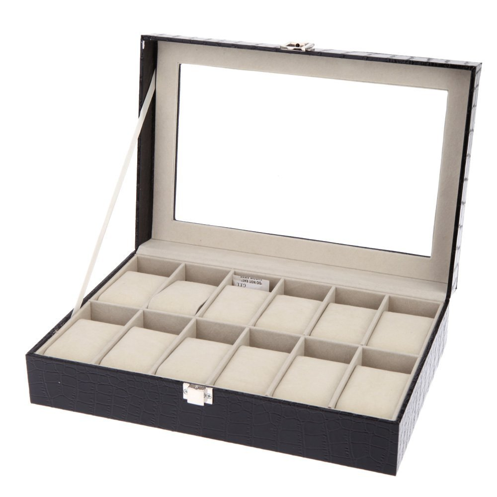 12 Grids Leather Watch Display Case Jewelry Collection Storage Organizer Box Holder