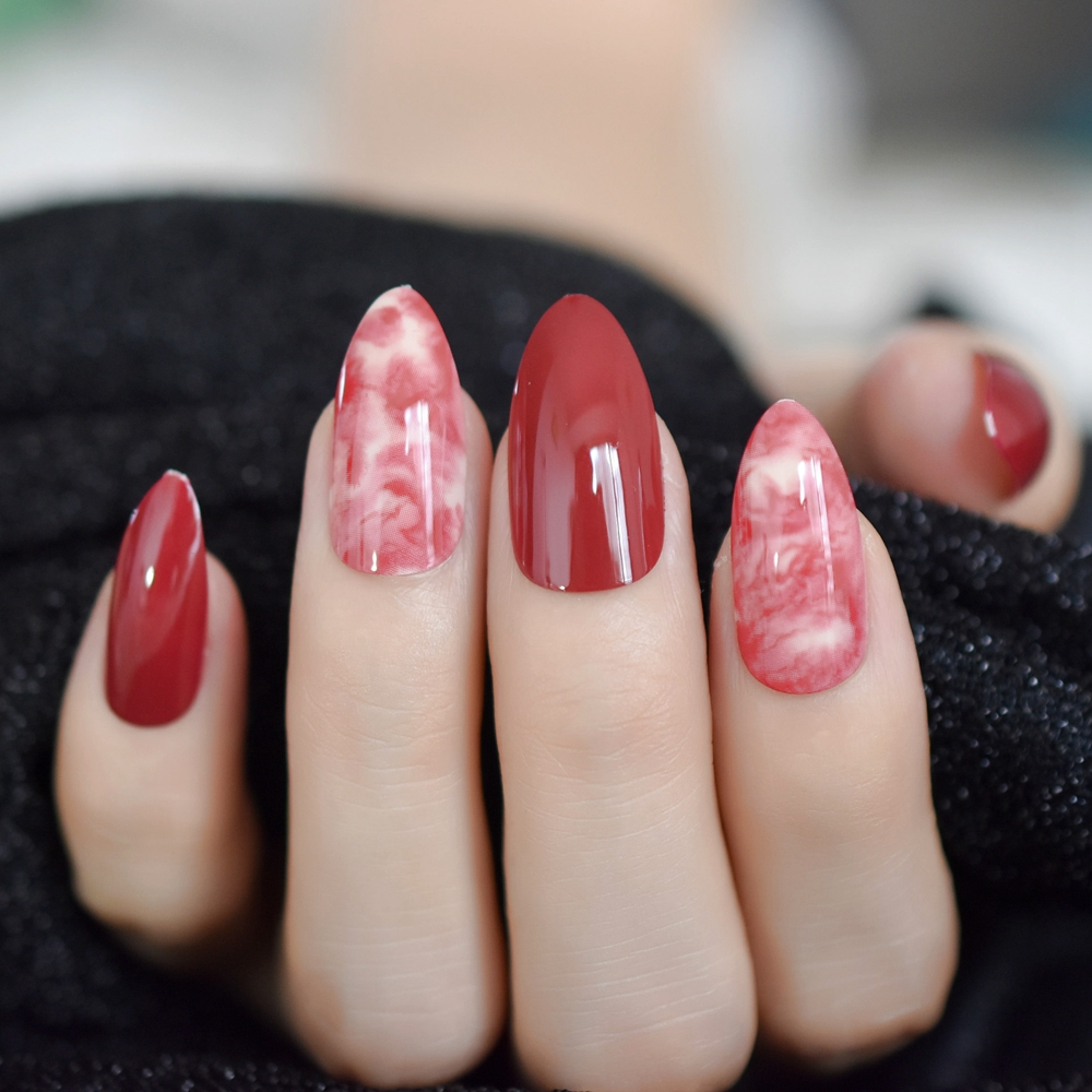 Marble Nail Art Stiletto: Printed Stiletto Fake Nails Red Wine Marble Nails Sharp