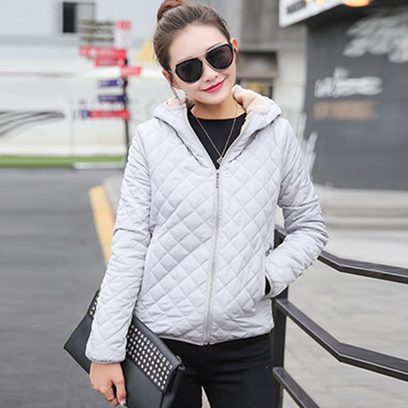 2018 Herbst Neue Grund Jacken Weibliche Frauen Winter Plus Samt Lamm Mit Kapuze Mäntel Baumwolle Winter Jacke Frauen Ouertwear Mantel QualitäT Und QuantitäT Gesichert