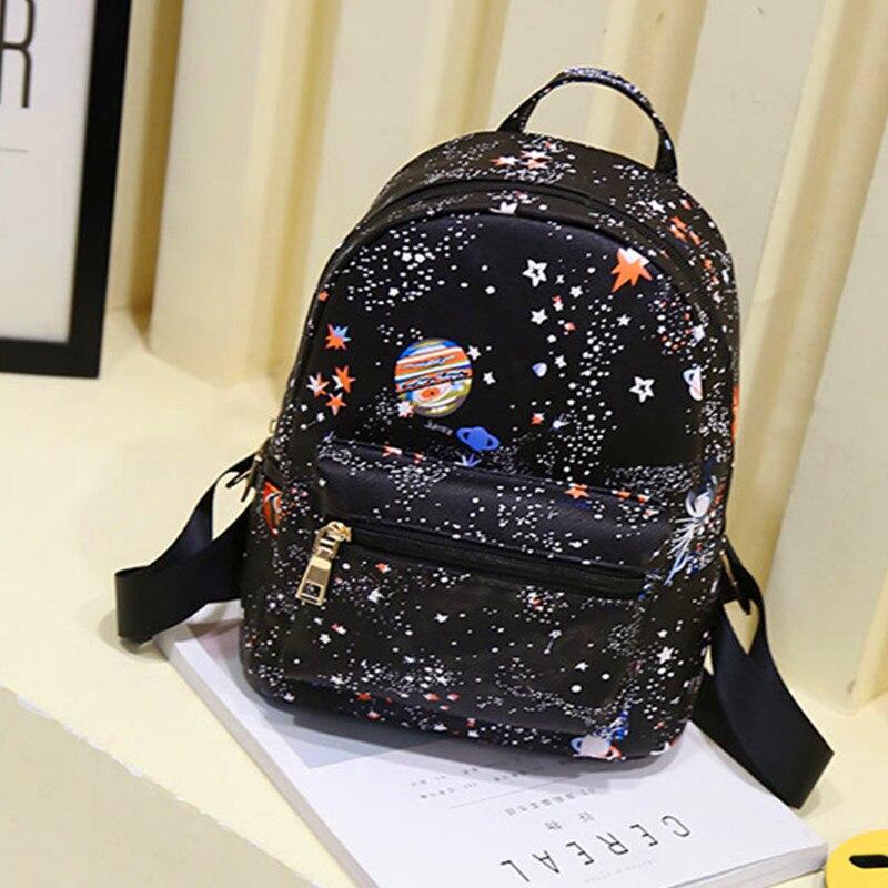 fashion star universe space printing backpack black school