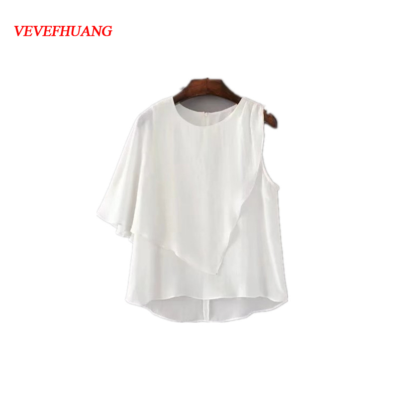 Fashion Elegant Single Butterfly Sleeve Blouse Women Solid White Loose Shirt Young Ladies Feminine Vestidos Femme Blusas 3 Sizes