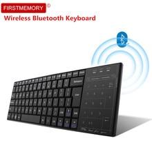 Bluetooth 3,0 Беспроводная сенсорная клавиатура мышь ультра тонкий мини сенсорной панелью игровая клавиатура для компьютер, ноутбук, лептоп Смарт ТВ teclado