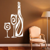Wine Bottle Hollow Out Vinyl Wall Decal Sticker Glass Removable Home Decor Art Wall Stickers For