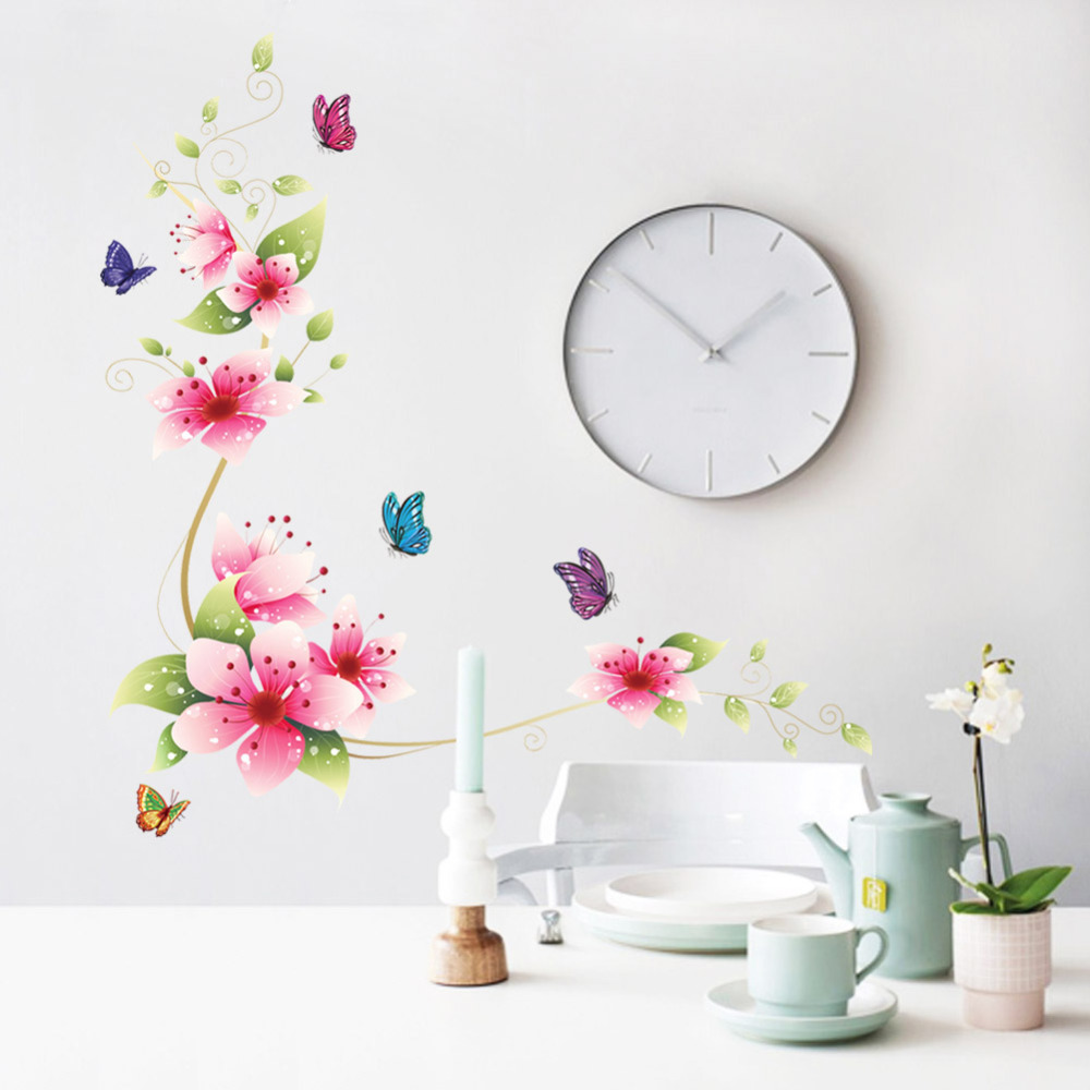 5 design small sakura flower wall stickers bedroom room pvc decal mural arts diy zooyoo6008 home decorations wall decals posters