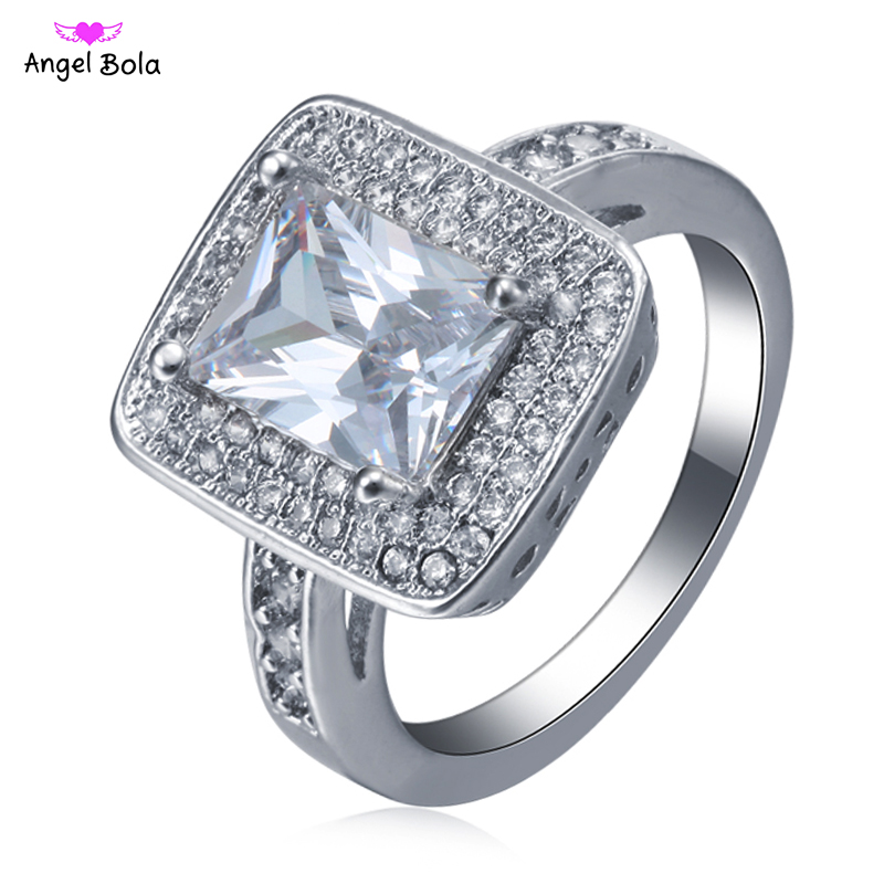 Luxury Silver Plated Wedding Rings for Men Square Large Design Gift Hot Sale New Fashion Jewelry Cubic Zircon Engagement Ring