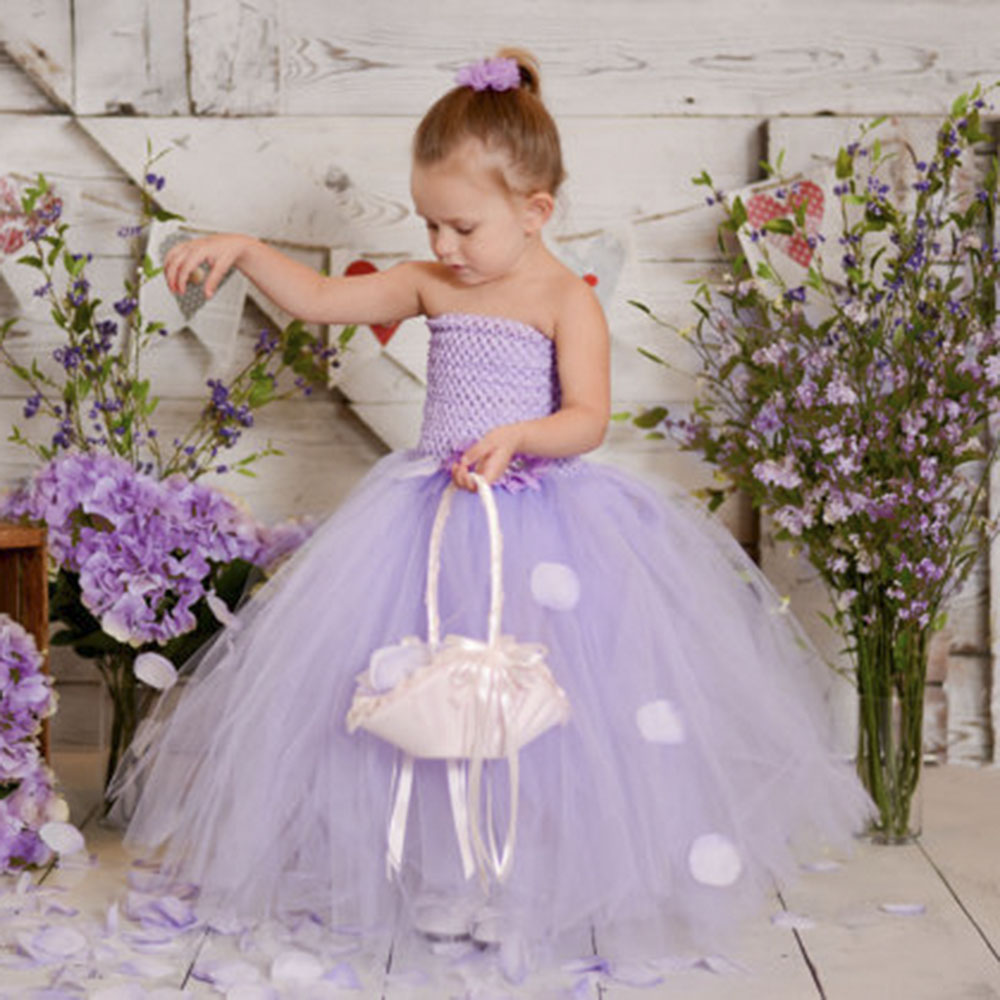 Lavender Flower Girl Wedding Tutu Dress Princess Tutu Tulle Kids Party Pageant Wedding Bridesmaid Lavender Gown Dress PT282