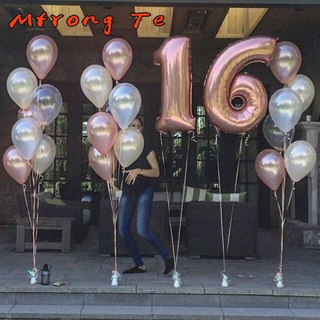 23pcs Lot 40 Rose Gold Number Foil Helium Balloons 12 Latex Air Globos