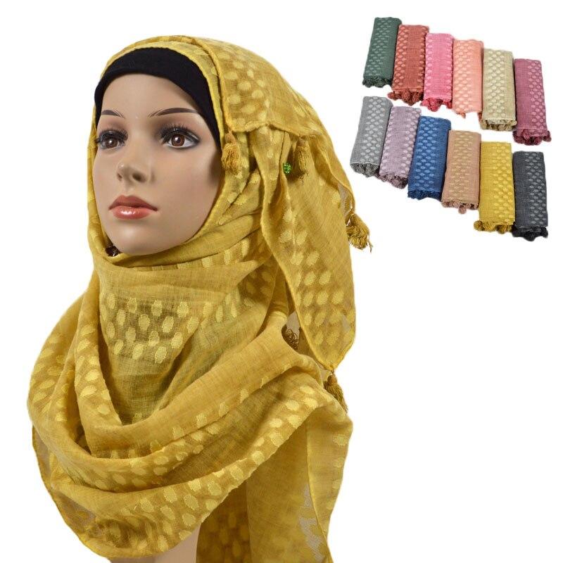 New Nice Dot Tessel Scarf Shawl Muslim Plain Hijab Fringed Pashmina Headband Women Islamic Scarves Hijabs