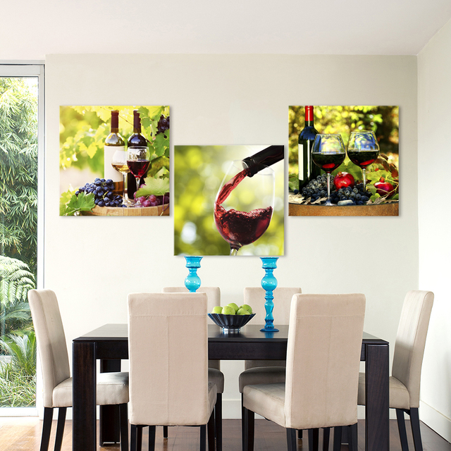 QKART 3 Pieces Canvas Art Wall Pictures Red Wine Photography Painting For Dining Room Home Decor No Frame