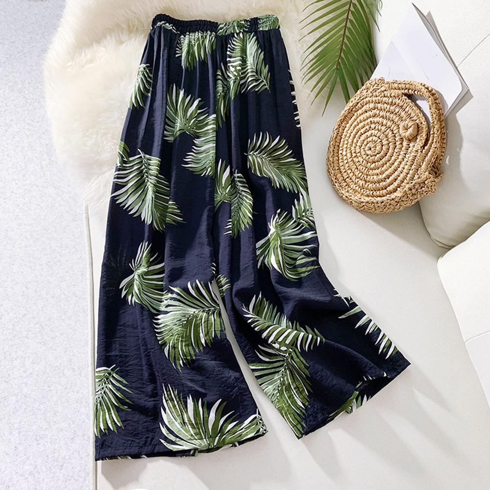 Women's Summer Casual Retro Printed   Wide     Leg     Pants   Bohemian Female Sports   Pants   Harajuku High Waist Loose Beach Holiday   Pants