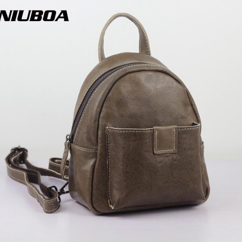 NIUBOA Fashion Women Backpack Genuine Leather Backpack Women Shoulder Bag School Cowhide Real Leather Backpack Female Small Bags niuboa bag female women s 100
